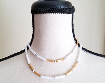 Monet White Lucite Golden Beaded necklace retro vintage classic 1960s