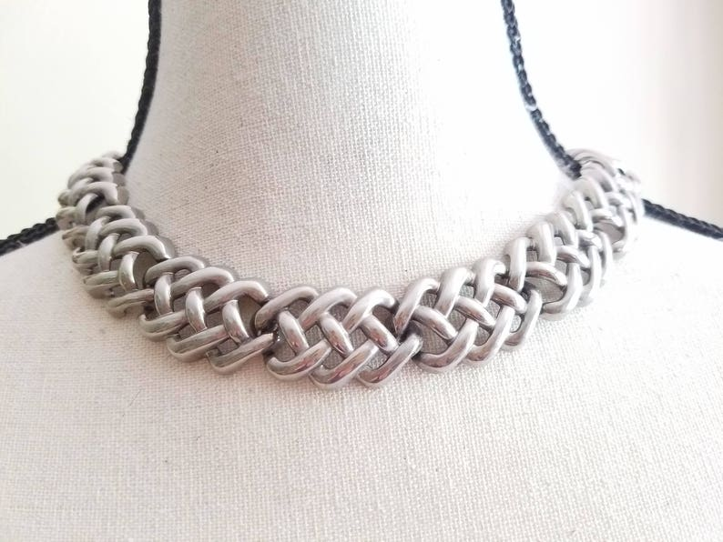 Silvertone Jewelry Set Chain Link Necklace and Bracelet Vintage Costume Jewelry Large Double Link Choker Collar Statement Silver Tone