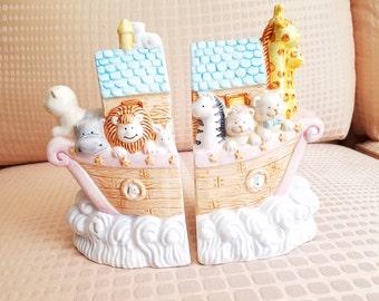 Noah's Ark Bookends by Russ Nursery Decor vintage Porcelain bookcase baby animals decor collectables ceramic religious