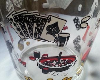 Hazel Atlas Glass Ice Bucket Las Vegas Poker Casino Roulette Chess Dominoes Dice Gambling Party Theme Snack Bowl Mid Century Mod Barware