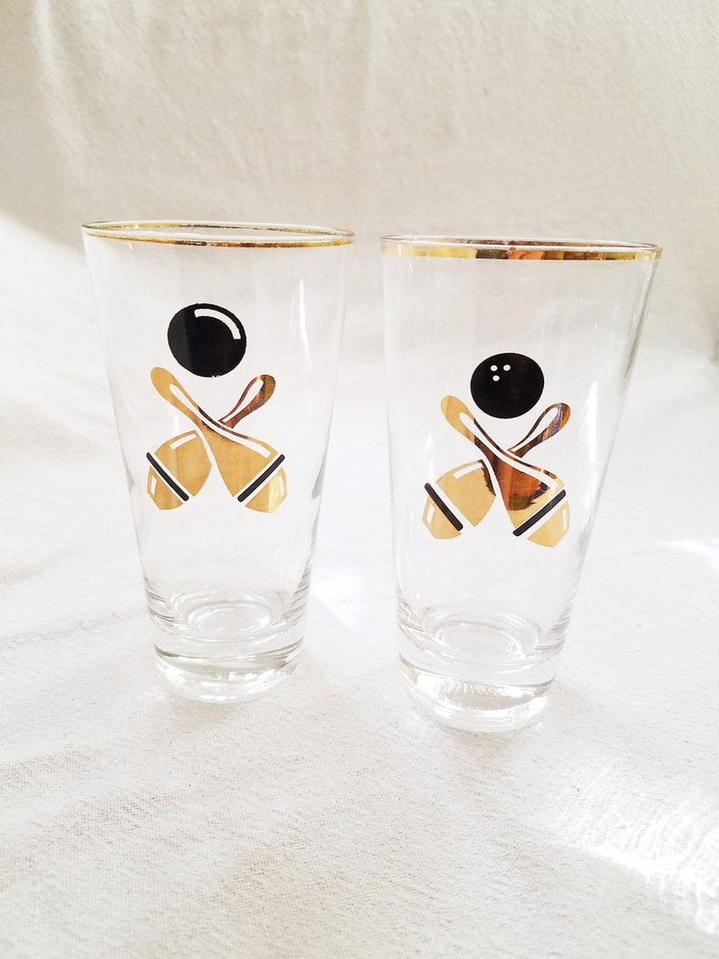 3ff881d90527 Gold Bowling Highball Cocktail Glasses Barware Pair Tall Beer