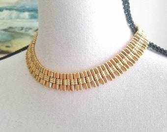 Monet Egyptian Choker Necklace Vintage Unique Gold Plated Costume Jewelry Bib Signed Designer Unusual Design Egyptian Revival