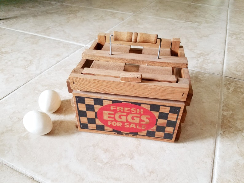 Vintage Wood Egg Carrier With Handle Egg Box Crate Holder Basket Eco Friendly Egg Storage Farmhouse Rustic Country Easter Decor Graphics