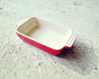 Le Creuset Stoneware Rectangular Dish Small Red Casserole Baking 9 x 5 inches Vintage Cookware Bakeware Ovenware Cooking for 1 or 2 people