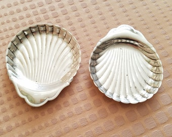Shiny Silver Viking Shell Coasters set of two trays small dishes Made in Canada beach ocean design decor electroplated copper