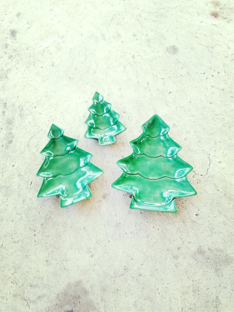 Trio Green Tree Dishes Trays Natural Decor Ceramic Trinket Storage Holiday Design Christmas