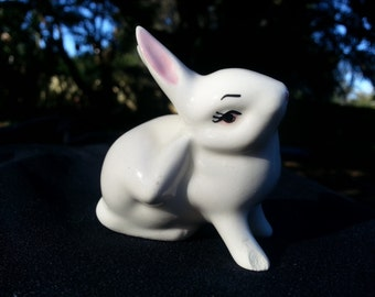 Miniature White Bunny Scratching, Easter, Ceramic Vintage Figurine