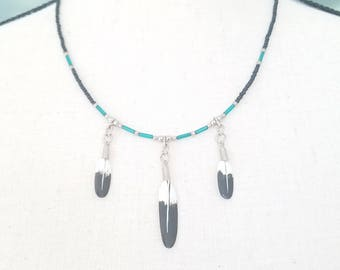 Native American Feather Beaded Necklace 1970s Vintage Indian Glass Beads Silver Hand Painted Feathers Spiritual
