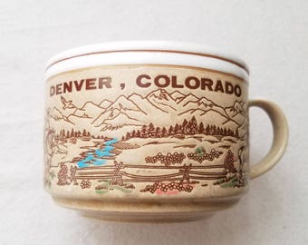 Denver Colorado Souvenir Stoneware Mug 1970s Large Coffee Tea Cup Heavy Soup Style Colorado Collectable Cowboy Rustic Vintage Made in Japan