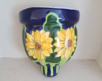 Talavera Wall Pocket Mexican Sunflower Design Hanging Planter Cobalt Blue Green Yellow Vintage Pottery Made in Mexico Home Decor Unused