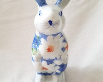 Andrea by Sadek Rabbit vintage  porcelain ceramic bunny statue figurine blue white daisies pedestal collectable 1980s handcrafted Easter