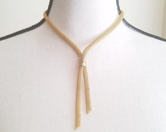 Vintage 1950s Gold Mesh Lariat Style necklace Goldtone Bolo costume jewelry Y necklace Mid Century Choker