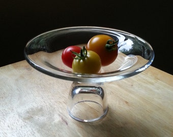 Hand crafted mouth blown glass footed bowl petite centerpiece compote pedestal made in Poland