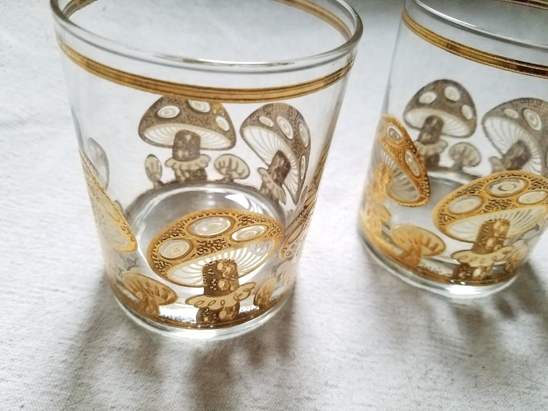 f73d7bbac0dd Culver Gold Mushroom Glasses Lowball Pair Vintage Mid Century
