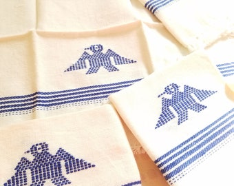 Vintage Mexican Embroidered Cloth Napkins Firebird Design Set of 5 Chimayo Art Textile Southwestern Design White and Blue Fiesta Handmade