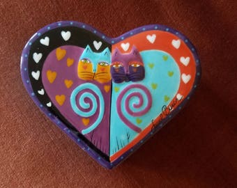 Laurel Burch Cats Trinket Box Ceramic Heart Shaped Signed Lidded Jewelry Storage Vintage Treasure Box by Ganz Collectable Original Tag