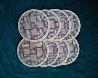 Cork coasters set of 8