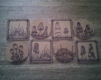 Set of eight cork coasters