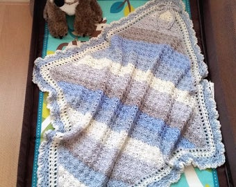 Crochet Baby Blanket, Baby Boy Blanket Set , Baby Shower Gift
