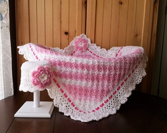 Crochet Baby Blanket, Baby Girl Blanket Set, Baby Shower Gift