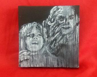 From Beyond Barbara Crampton painting, 80s horror black and white art horror fan art HP Lovecraft tiny painting monster art women in horror
