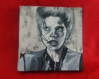 Return of the Living Dead Linnea Quigley Trash painting, horror movies cult horror zombie movies horror fan art tiny painting its party time