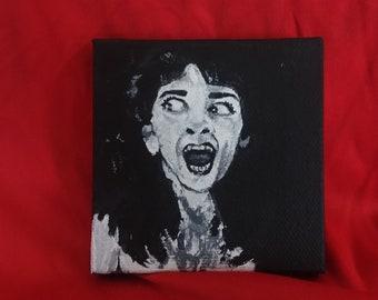 Angela Felissa Rose Sleepaway Camp painting, 80s horror slasher horror art cult classic fan art tiny painting black and white art