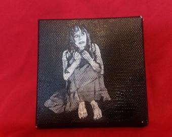 Daria Nicolodi Shock horror painting, Italian horror Mario bava horror art horror fan art 70s horror tiny painting black and white art