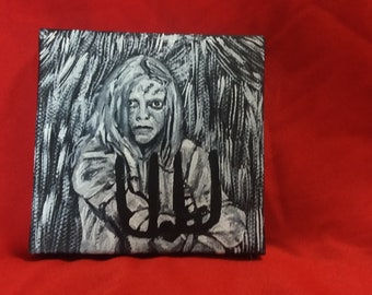 Friday the 13th Part 2 Ginny Fields painting, Amy Steel horror art horror movies Jason Voorhees