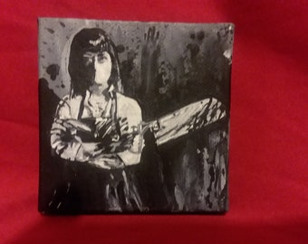 American Mary painting, horror movie fan art Katherine Isabelle cult film scary movie blood guts soska sisters