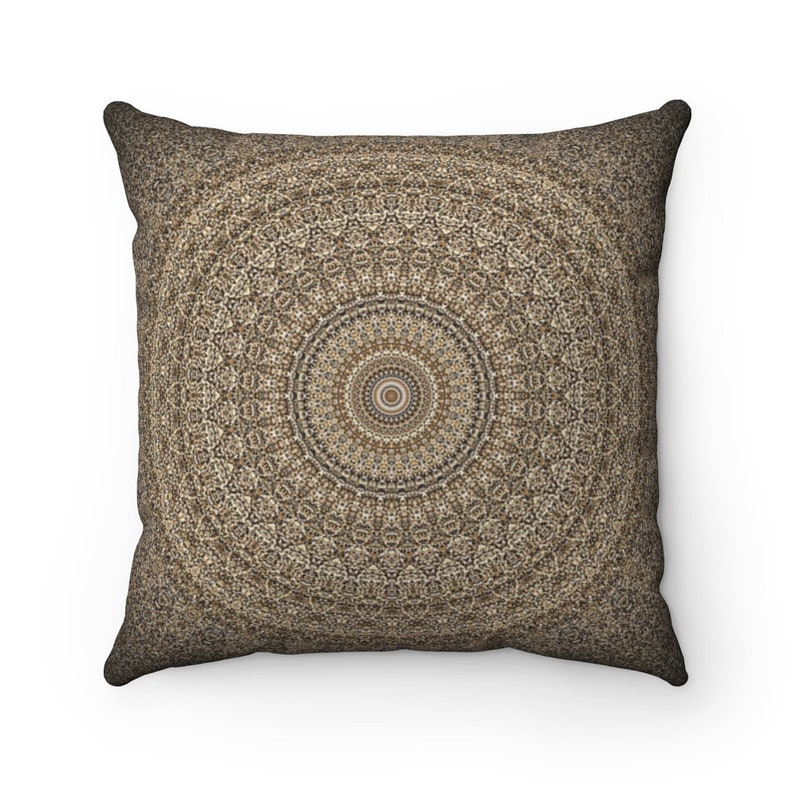 Earth Mandala Graphic Polyester Square Pillow Throw Pillow to cozy up any living space.