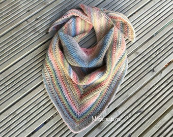 7323bd749855 Boho hand knitted colourful triangle shawl. Knitted triangle scarf. Women s  shawl. Women s gift.Christmas gift.