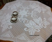 Vintage crochet tablecloth. Handmade crochet doily. Crochet lace tablecloth.Square crochet tablecloth with flowers. Home decoration.