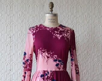 70s Hanae Mori Pleated Floral Dress