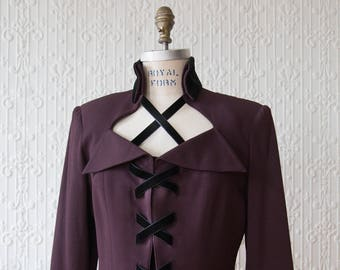 Annie Reva Royal Purple Velvet Lace Up Blazer