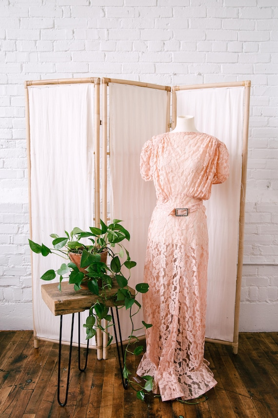 1930s Pink Lace Gown