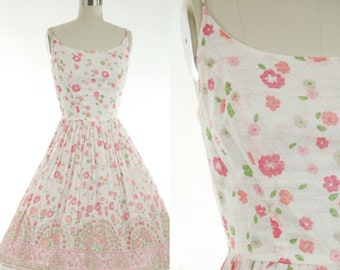 5f505a80b07 1950s Pink and White Floral Border Print Cotton Sundress