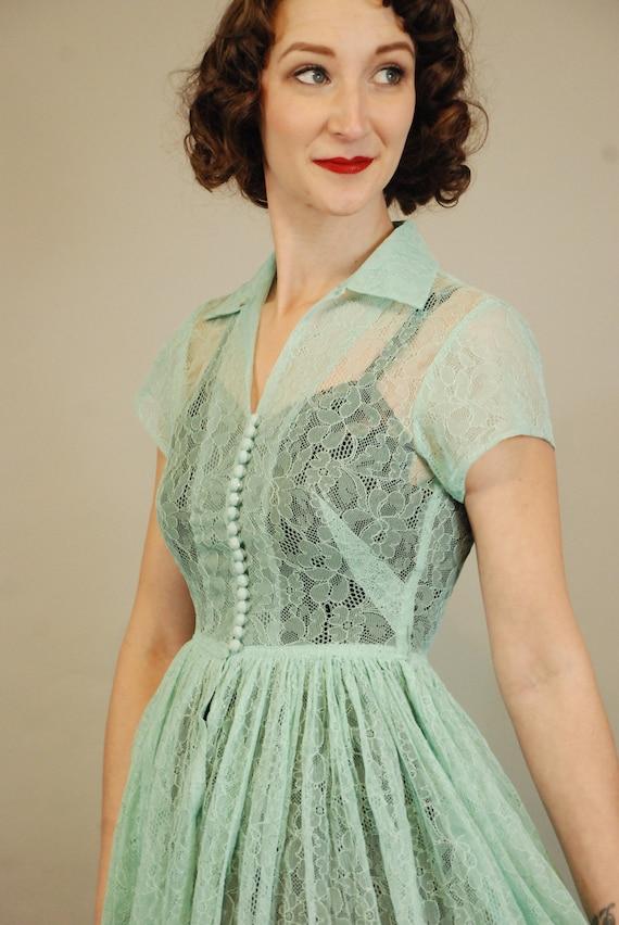1940s Dress | Lovely 40s Seafoam Green Lace Dress… - image 6