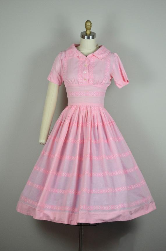 1950s Dress | Sweet 50s Pink Gingham Cotton Dress… - image 2