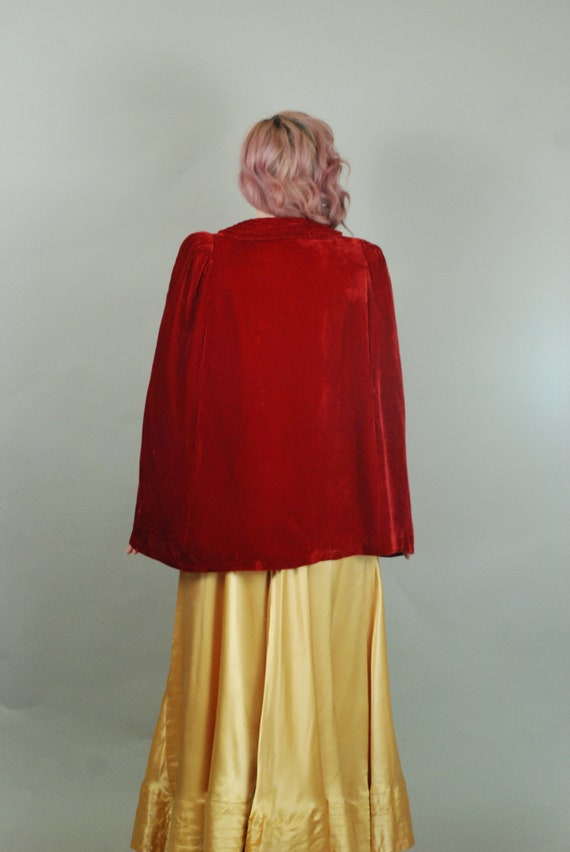 SALE - 1930s Cape | 30s Silk Velvet Red Cape with… - image 8