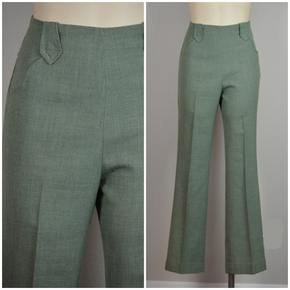 1940s Pants | Crisp Green Wool Westernwear Pants -