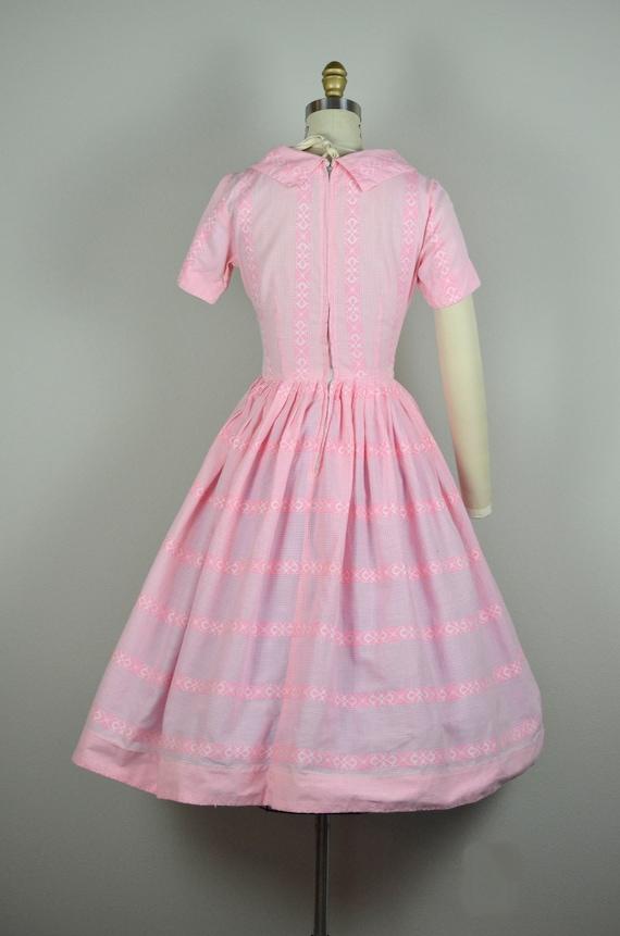 1950s Dress | Sweet 50s Pink Gingham Cotton Dress… - image 8
