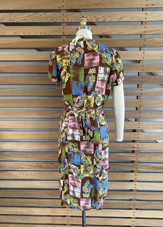 1940s Dress | Fab 40s Flower Wagon Novelty Print … - image 9
