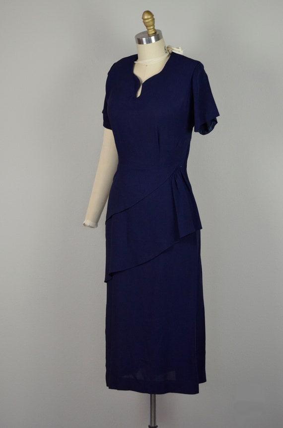 1940s Dress   Classic 40s Navy Blue Rayon Dress w… - image 5