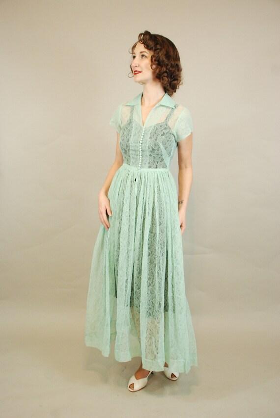 1940s Dress | Lovely 40s Seafoam Green Lace Dress… - image 3