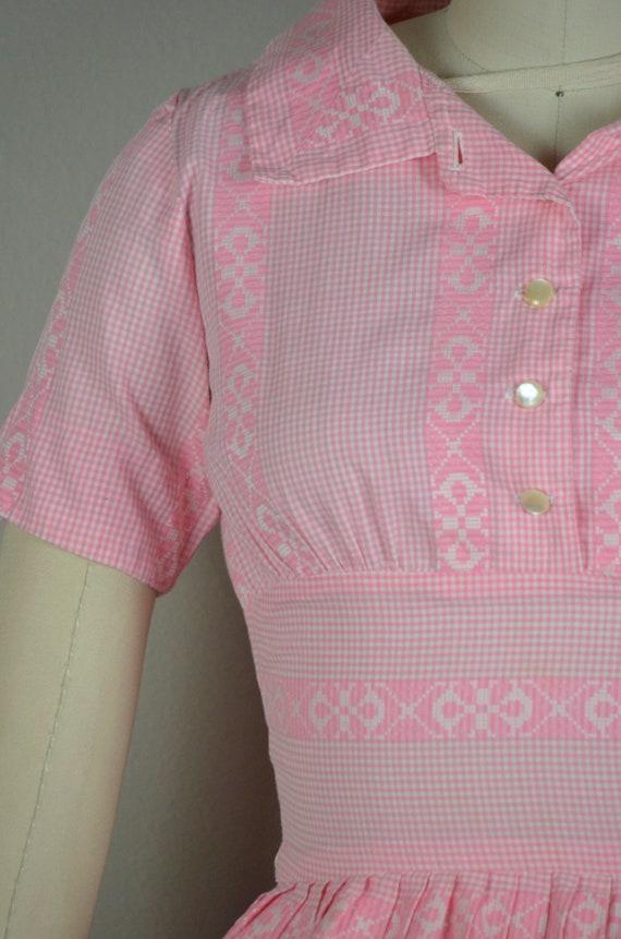 1950s Dress | Sweet 50s Pink Gingham Cotton Dress… - image 4