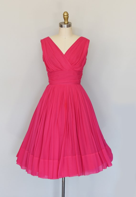1950s Dress | Lovely 50s Pink Chiffon Dress with … - image 2
