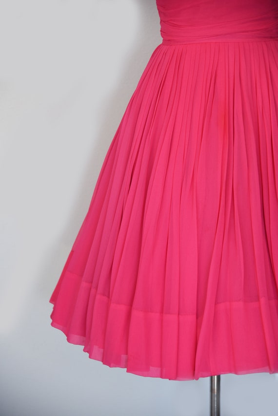 1950s Dress | Lovely 50s Pink Chiffon Dress with … - image 4