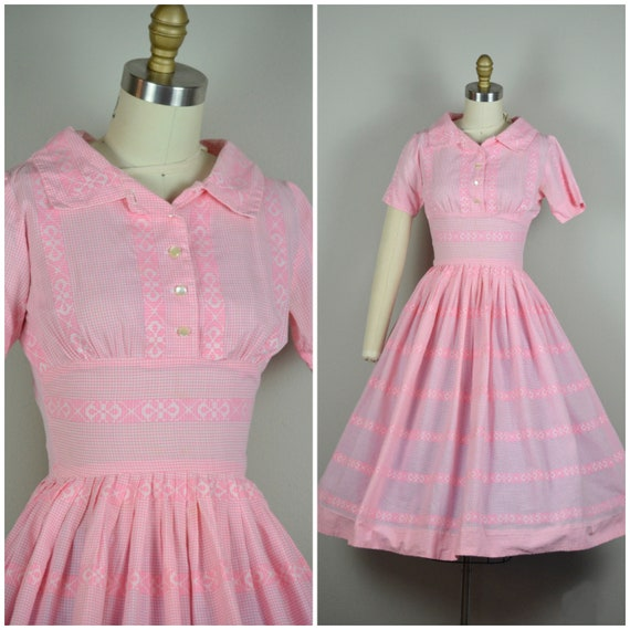 1950s Dress | Sweet 50s Pink Gingham Cotton Dress