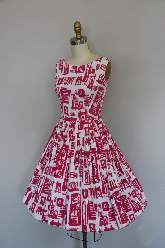 1950s Dress Set | Striking 50s Linen Fit and Flar… - image 4
